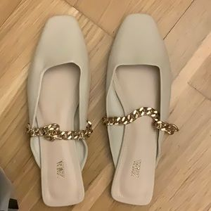 Zara mules / flats with chain strap - new
